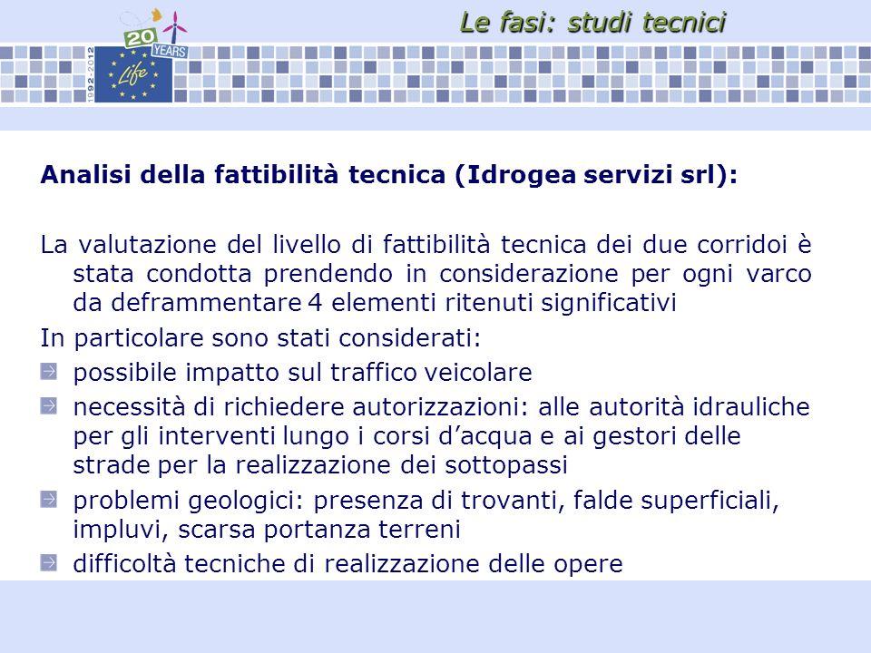 Le fasi: studi tecnici Analisi della fattibilità tecnica (Idrogea servizi srl):