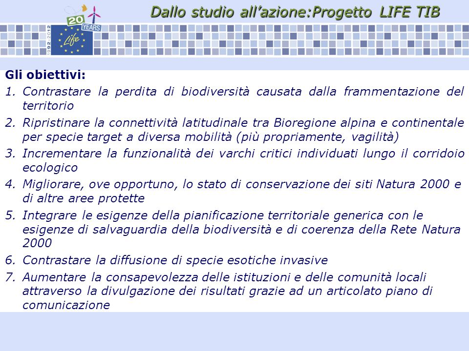 Dallo studio all'azione:Progetto LIFE TIB