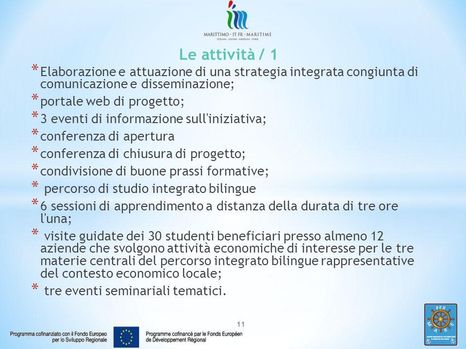 Le attività / 1 Elaborazione e attuazione di una strategia integrata congiunta di comunicazione e disseminazione;