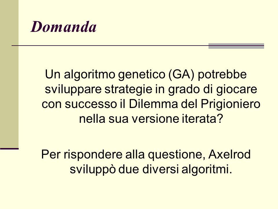 Per rispondere alla questione, Axelrod sviluppò due diversi algoritmi.
