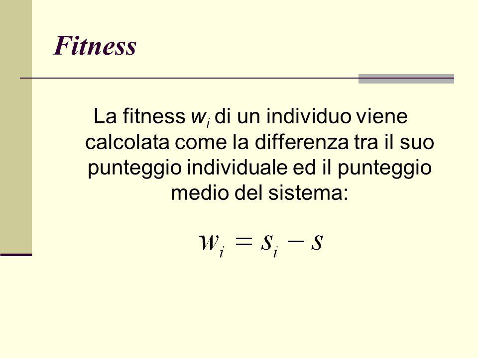 Fitness La fitness wi di un individuo viene calcolata come la differenza tra il suo punteggio individuale ed il punteggio medio del sistema: