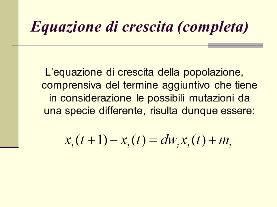 Equazione di crescita (completa)