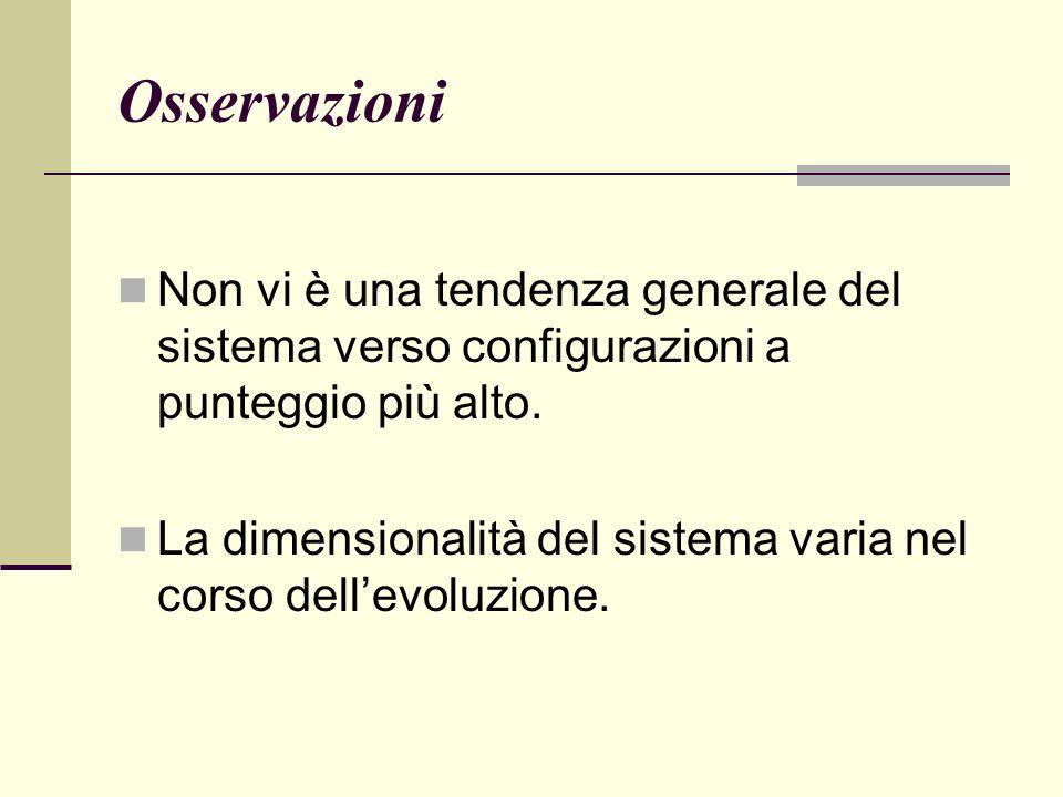Osservazioni Non vi è una tendenza generale del sistema verso configurazioni a punteggio più alto.