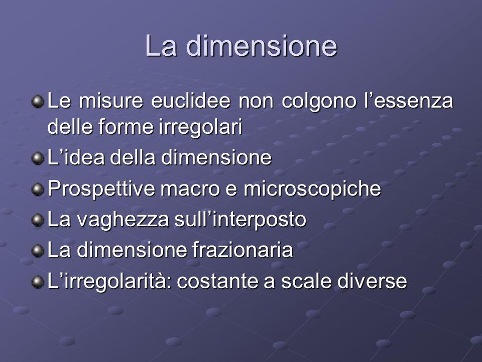 La dimensione Le misure euclidee non colgono l'essenza delle forme irregolari. L'idea della dimensione.
