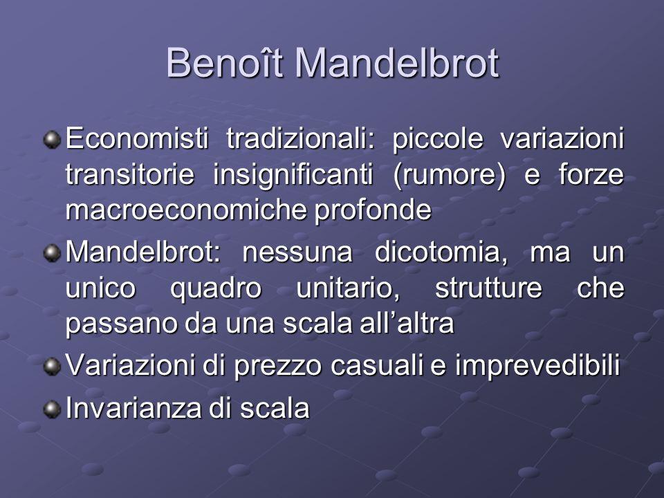 Benoît Mandelbrot Economisti tradizionali: piccole variazioni transitorie insignificanti (rumore) e forze macroeconomiche profonde.