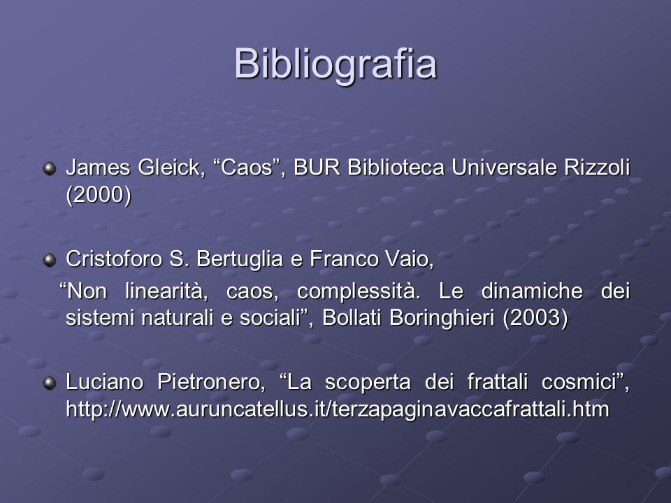 Bibliografia James Gleick, Caos , BUR Biblioteca Universale Rizzoli (2000) Cristoforo S. Bertuglia e Franco Vaio,