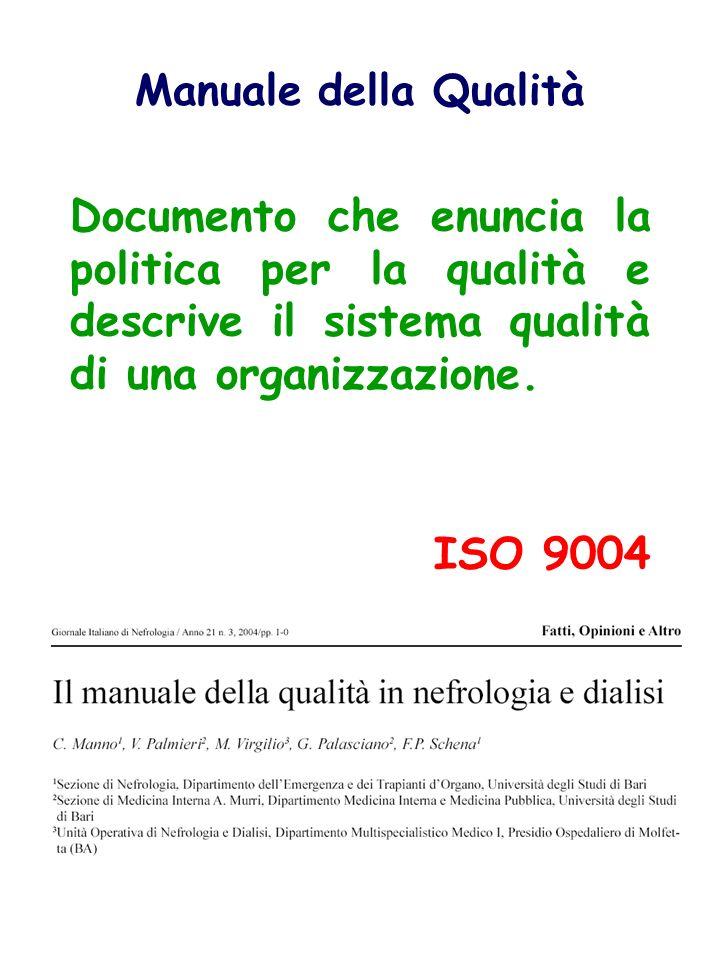 Manuale della Qualità Documento che enuncia la politica per la qualità e descrive il sistema qualità di una organizzazione.