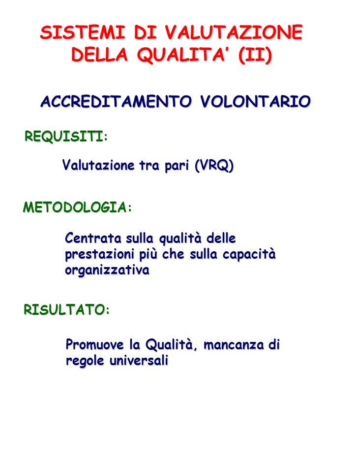 SISTEMI DI VALUTAZIONE DELLA QUALITA' (II)