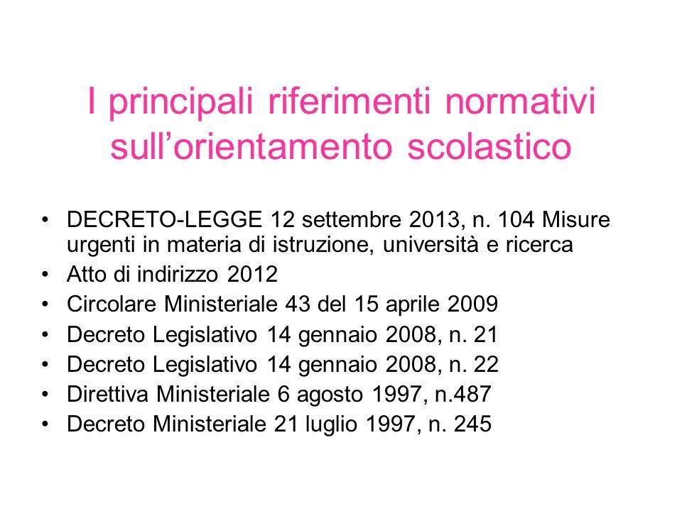 I principali riferimenti normativi sull'orientamento scolastico