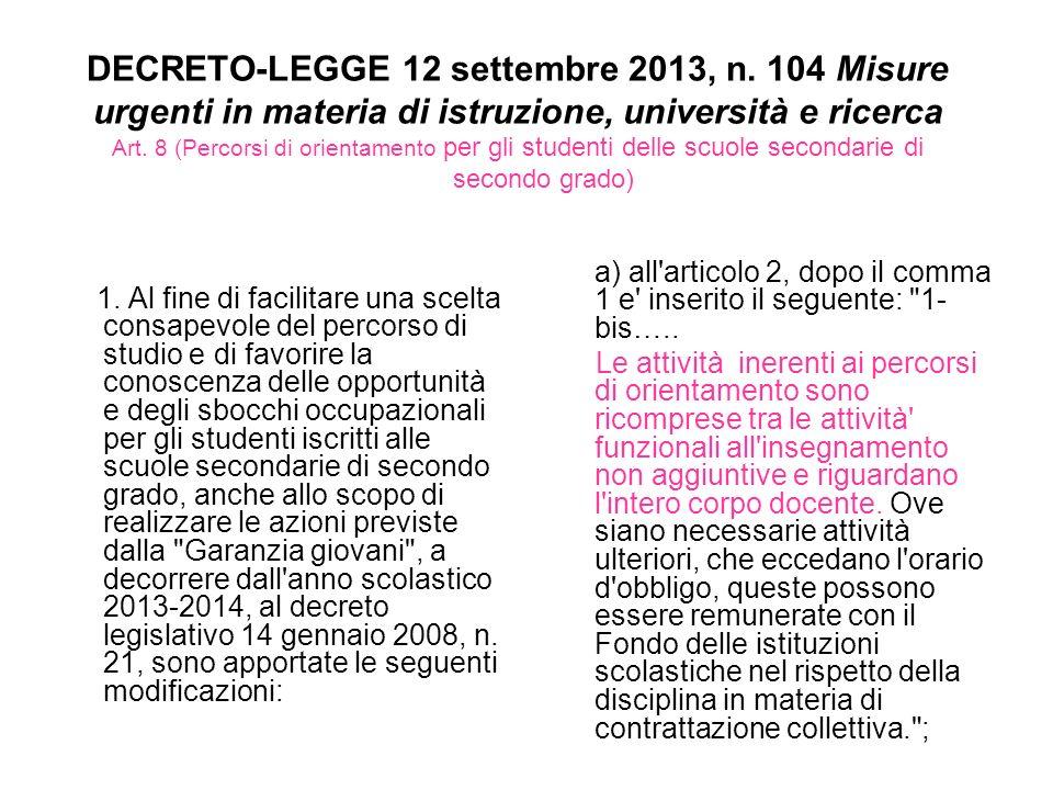 DECRETO-LEGGE 12 settembre 2013, n