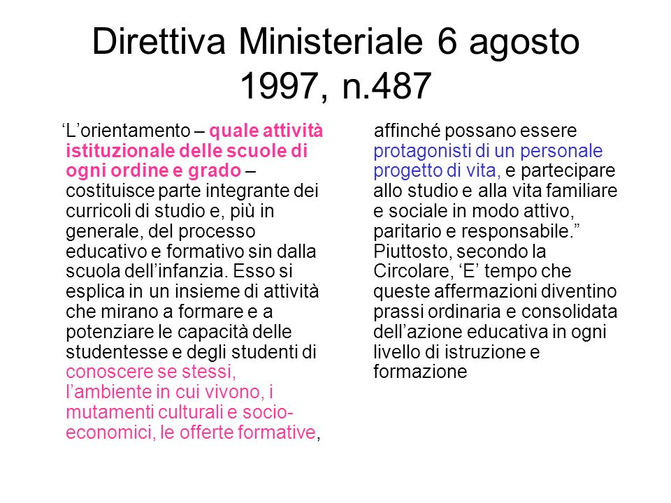 Direttiva Ministeriale 6 agosto 1997, n.487