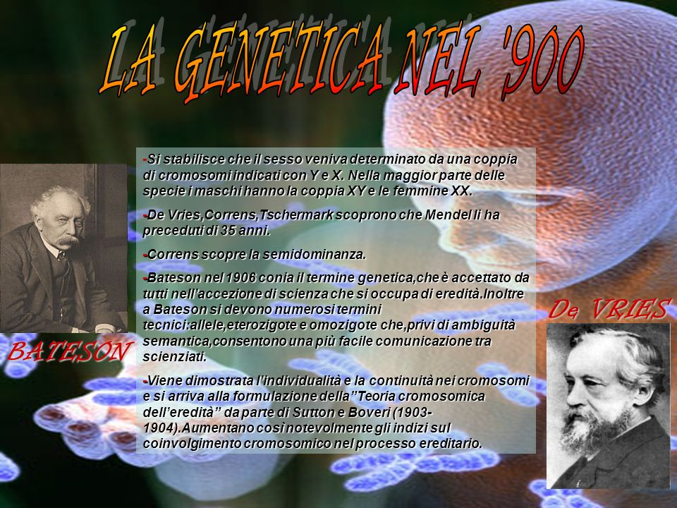 LA GENETICA NEL 900 De VRIES BATESON
