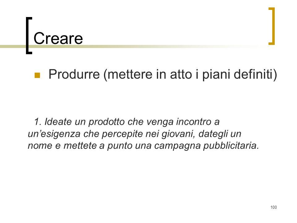 Creare Produrre (mettere in atto i piani definiti)