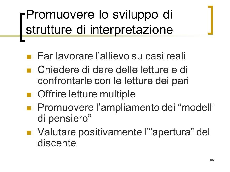 Promuovere lo sviluppo di strutture di interpretazione