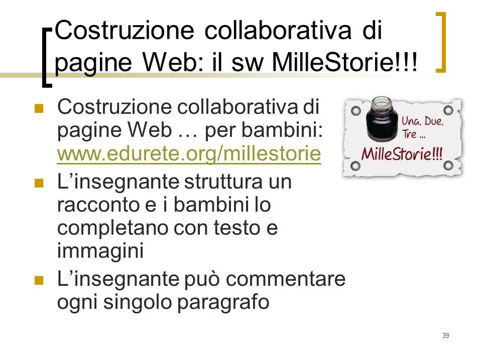 Costruzione collaborativa di pagine Web: il sw MilleStorie!!!