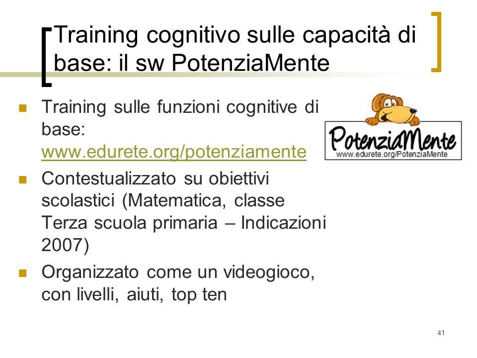 Training cognitivo sulle capacità di base: il sw PotenziaMente