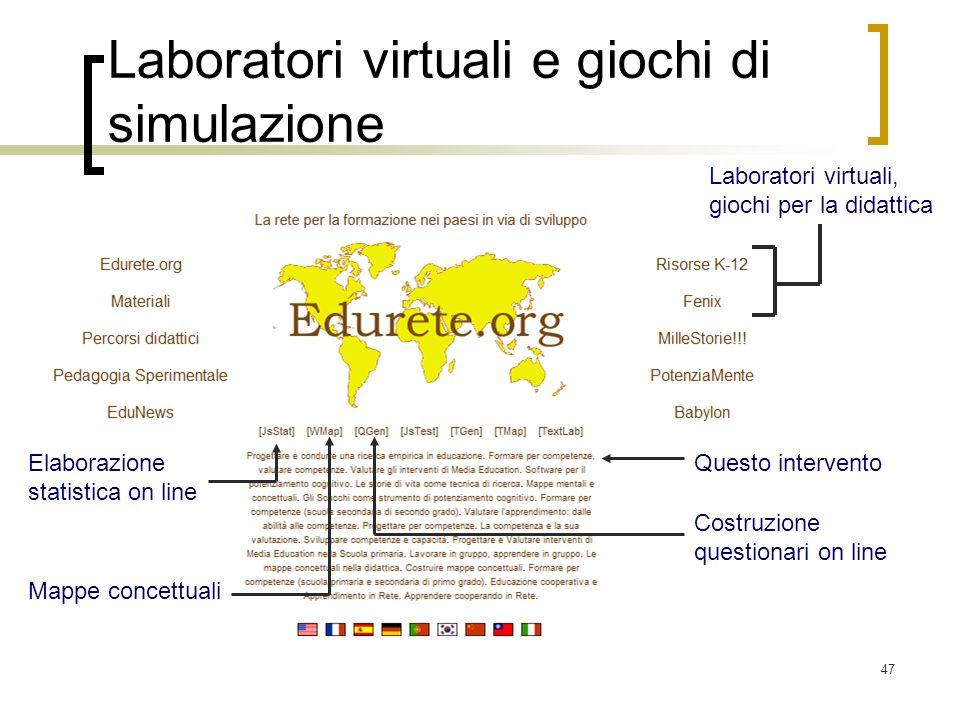 Laboratori virtuali e giochi di simulazione