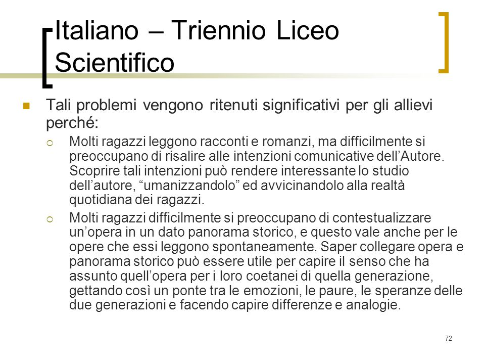 Italiano – Triennio Liceo Scientifico