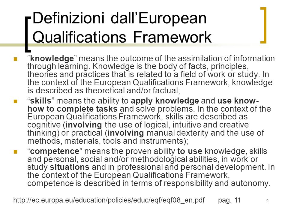 Definizioni dall'European Qualifications Framework