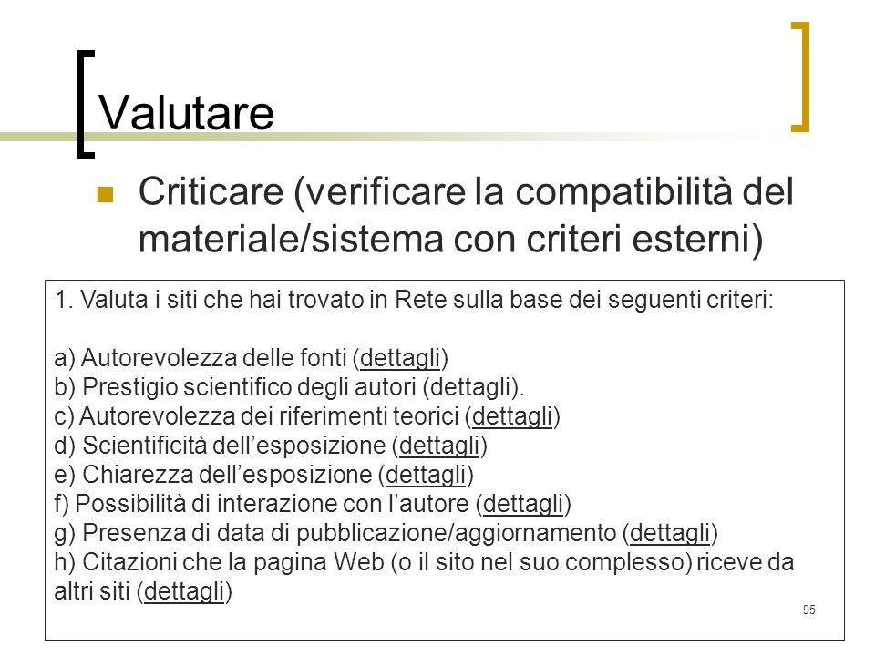 Valutare Criticare (verificare la compatibilità del materiale/sistema con criteri esterni)