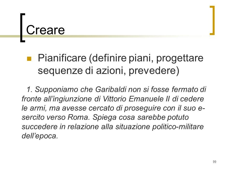CrearePianificare (definire piani, progettare sequenze di azioni, prevedere)