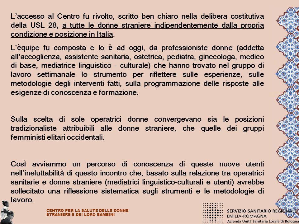 L'accesso al Centro fu rivolto, scritto ben chiaro nella delibera costitutiva della USL 28, a tutte le donne straniere indipendentemente dalla propria condizione e posizione in Italia.