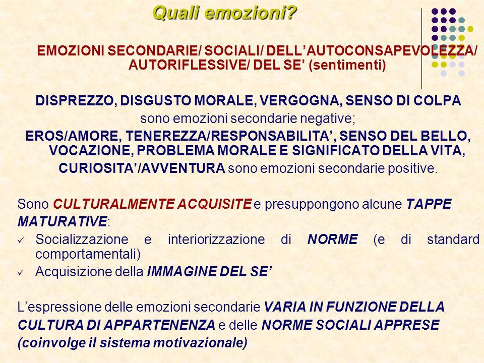 Quali emozioni EMOZIONI SECONDARIE/ SOCIALI/ DELL'AUTOCONSAPEVOLEZZA/ AUTORIFLESSIVE/ DEL SE' (sentimenti)