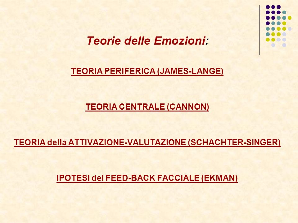 Teorie delle Emozioni: