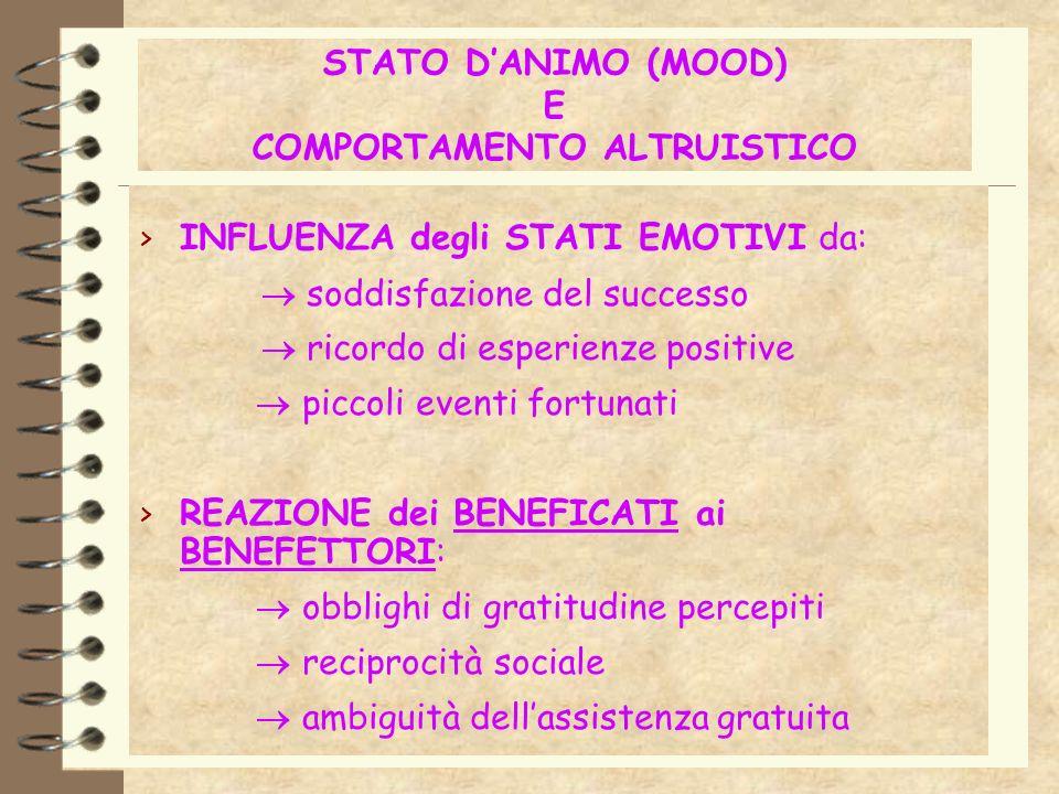 STATO D'ANIMO (MOOD) E COMPORTAMENTO ALTRUISTICO