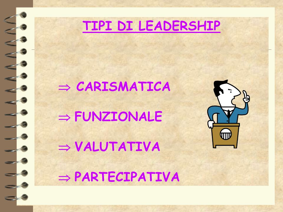 TIPI DI LEADERSHIP  CARISMATICA  FUNZIONALE  VALUTATIVA  PARTECIPATIVA