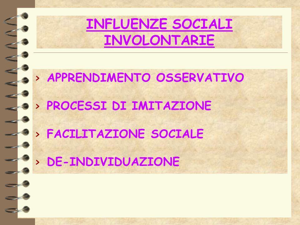 INFLUENZE SOCIALI INVOLONTARIE