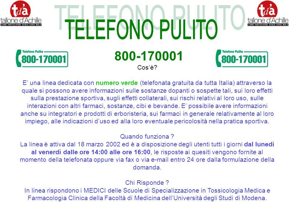 TELEFONO PULITO 800-170001 Cos'è