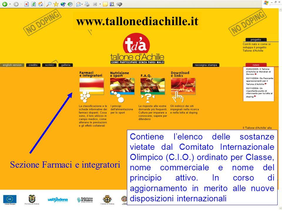 www.tallonediachille.it Sezione Farmaci e integratori