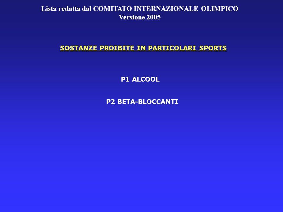 Lista redatta dal COMITATO INTERNAZIONALE OLIMPICO Versione 2005