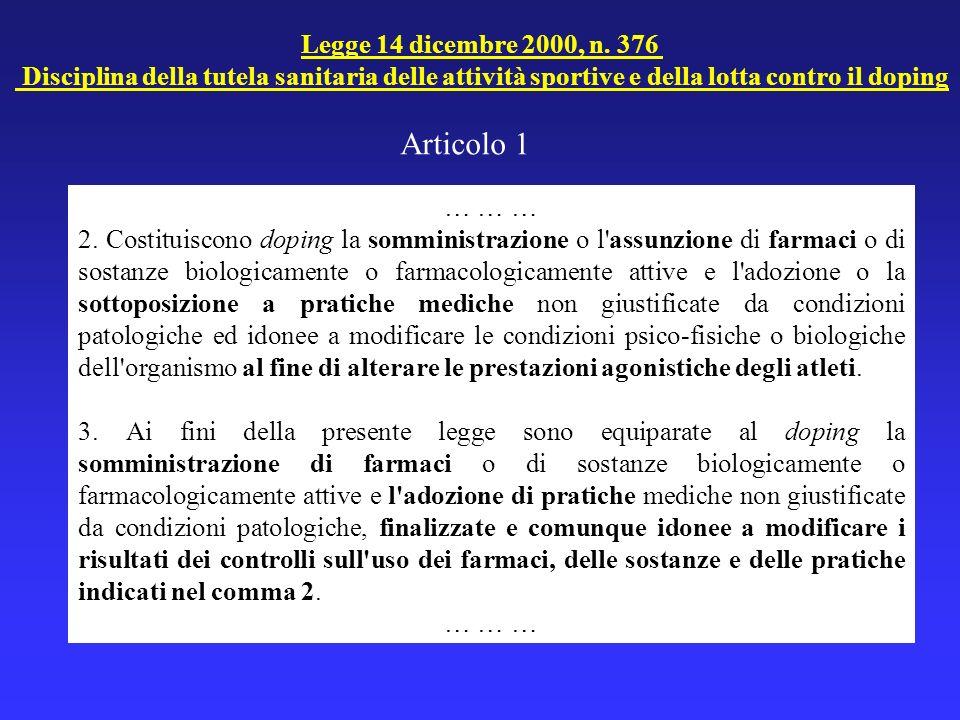 Articolo 1 Legge 14 dicembre 2000, n. 376