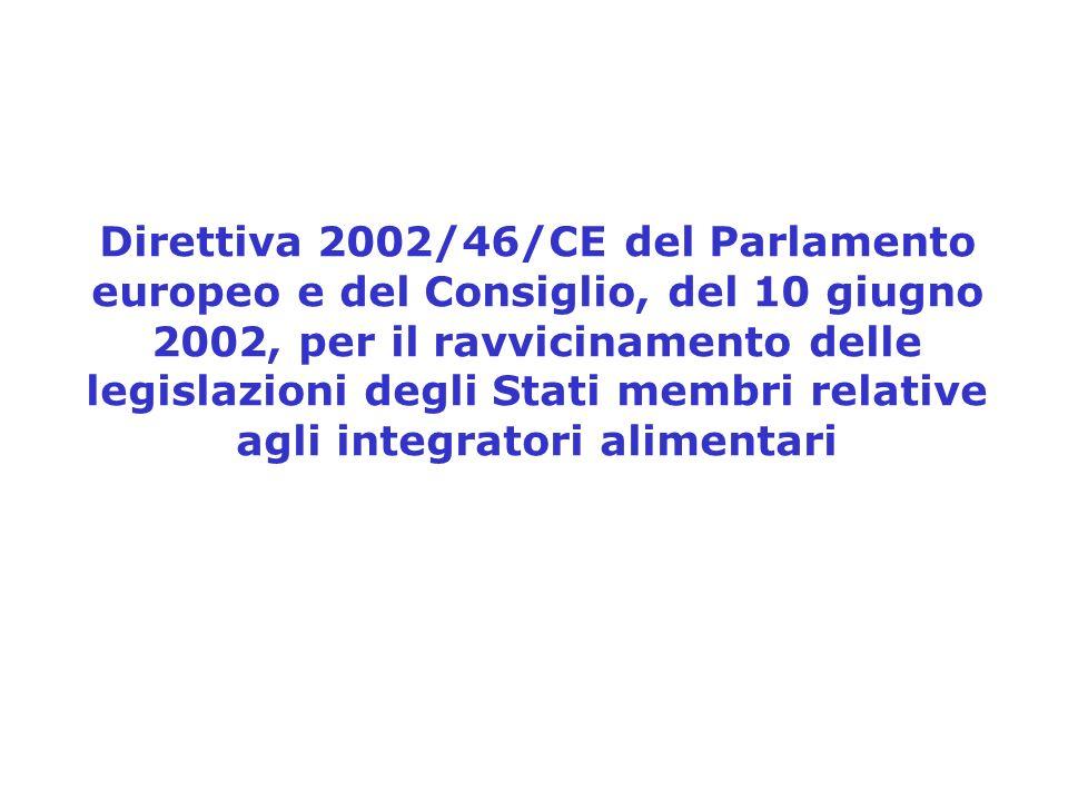 Direttiva 2002/46/CE del Parlamento europeo e del Consiglio, del 10 giugno 2002, per il ravvicinamento delle legislazioni degli Stati membri relative agli integratori alimentari