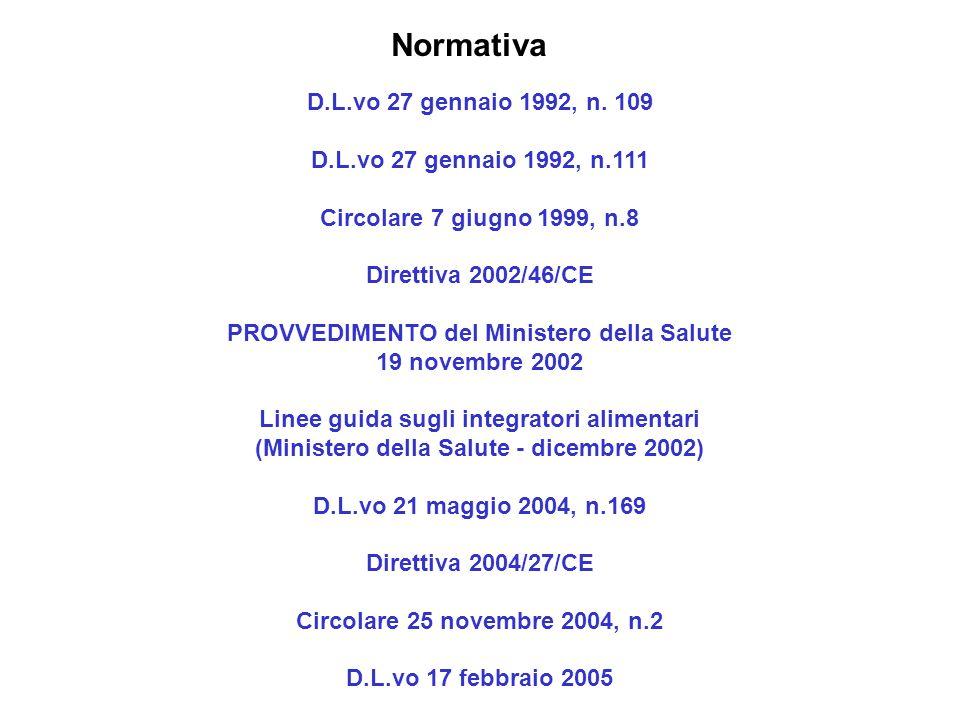 Normativa D.L.vo 27 gennaio 1992, n. 109 D.L.vo 27 gennaio 1992, n.111