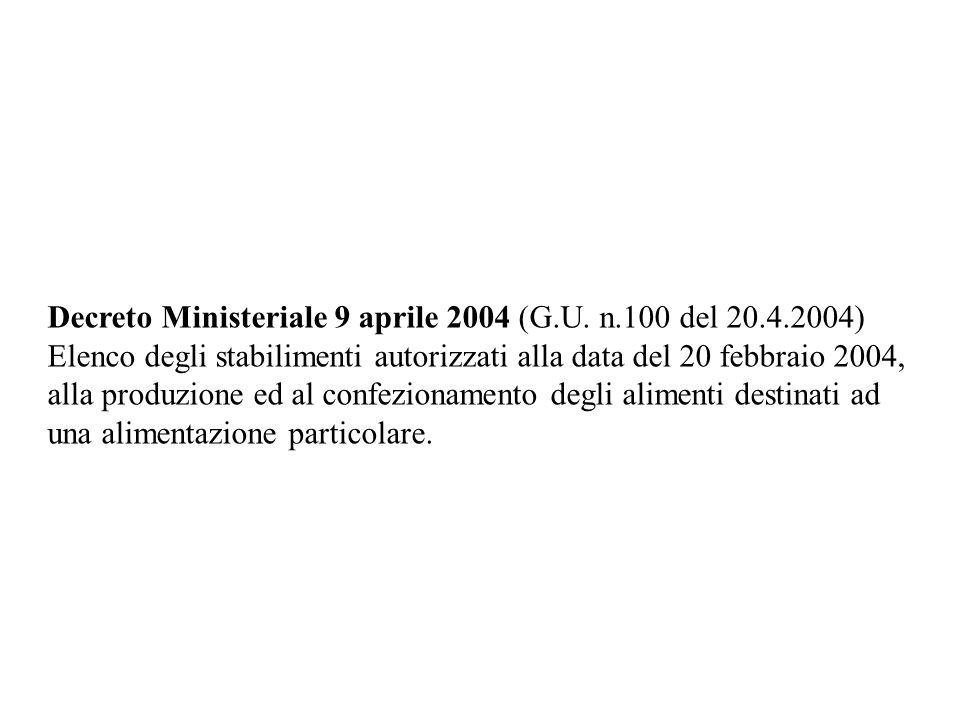 Decreto Ministeriale 9 aprile 2004 (G. U. n. 100 del 20. 4