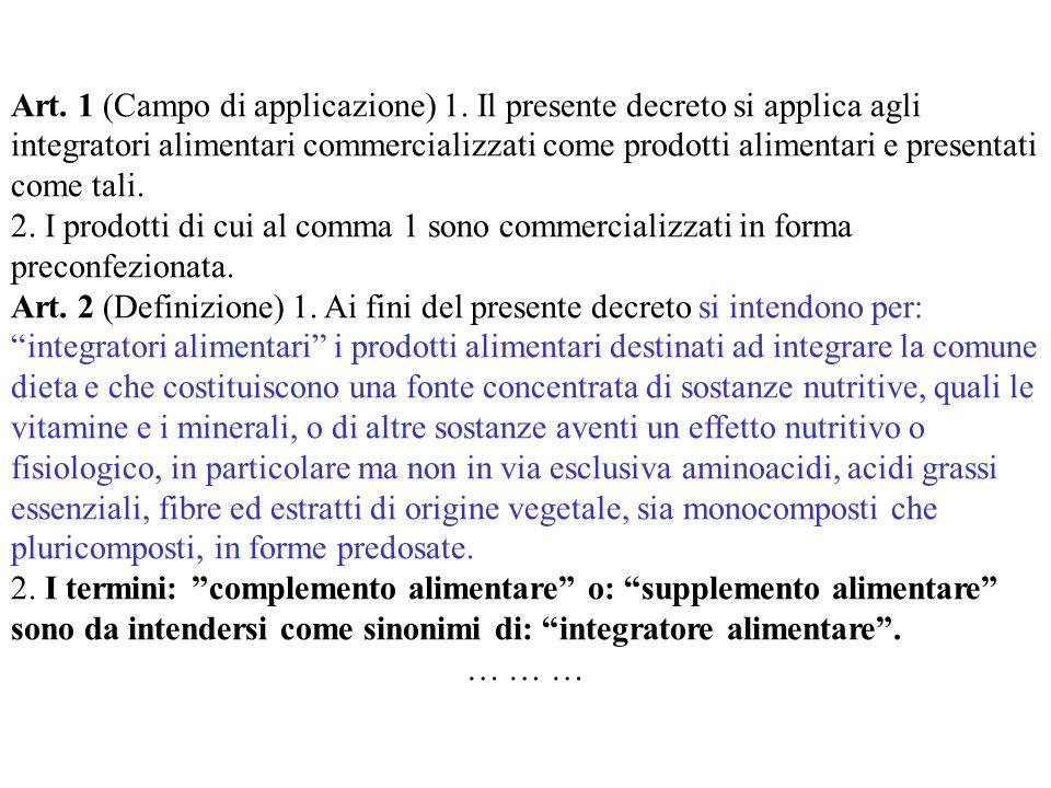 Art. 1 (Campo di applicazione) 1