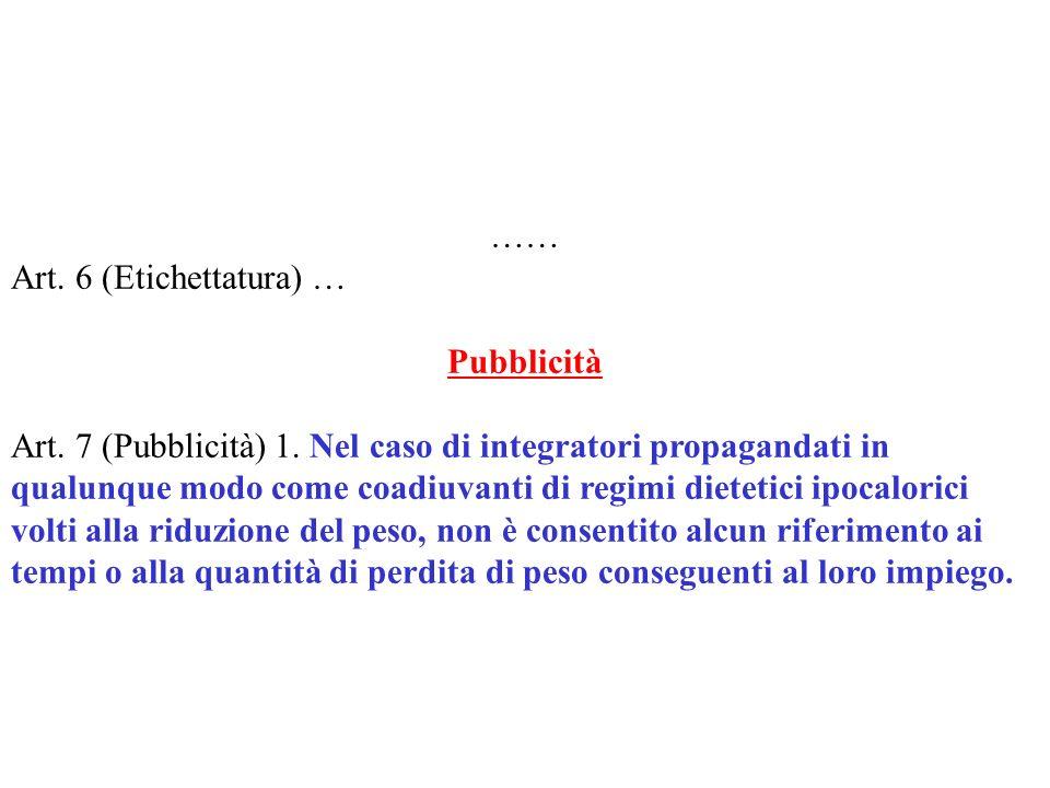 …… Art. 6 (Etichettatura) … Pubblicità.