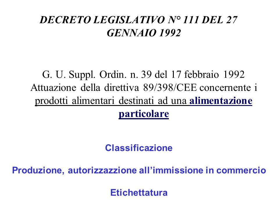 DECRETO LEGISLATIVO N° 111 DEL 27 GENNAIO 1992