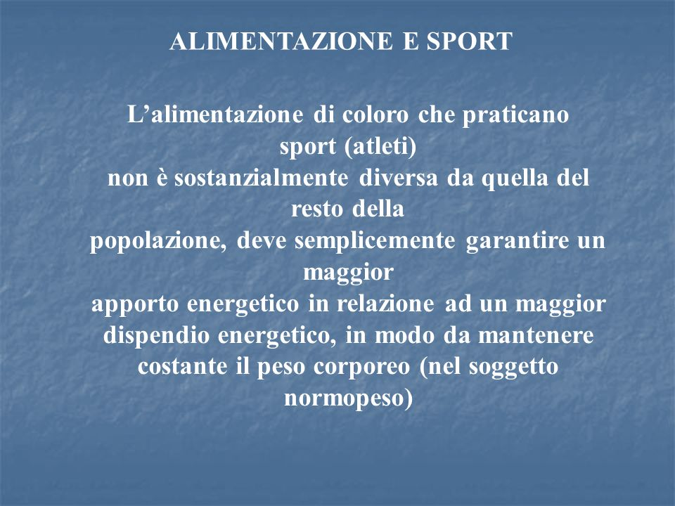 L'alimentazione di coloro che praticano sport (atleti)