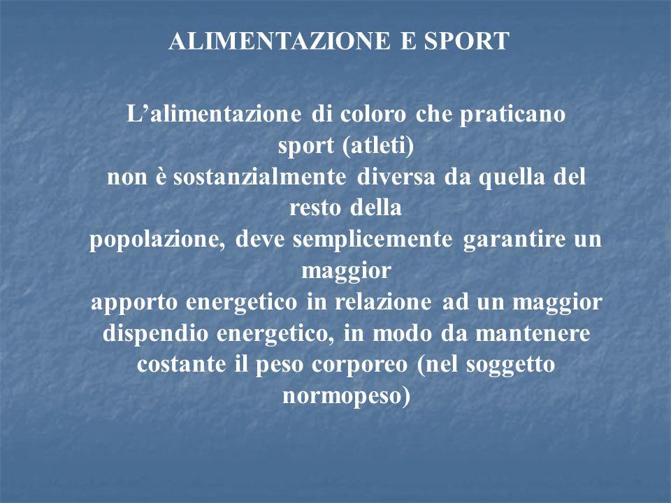 L'alimentazione di coloro che praticano sport (atleti)