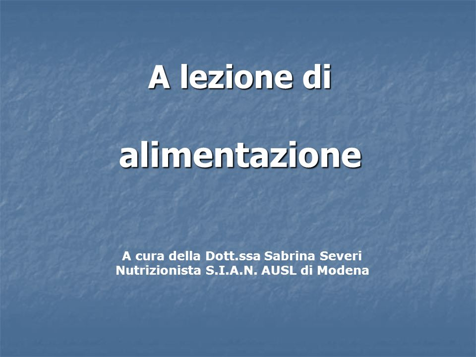 A lezione di alimentazione