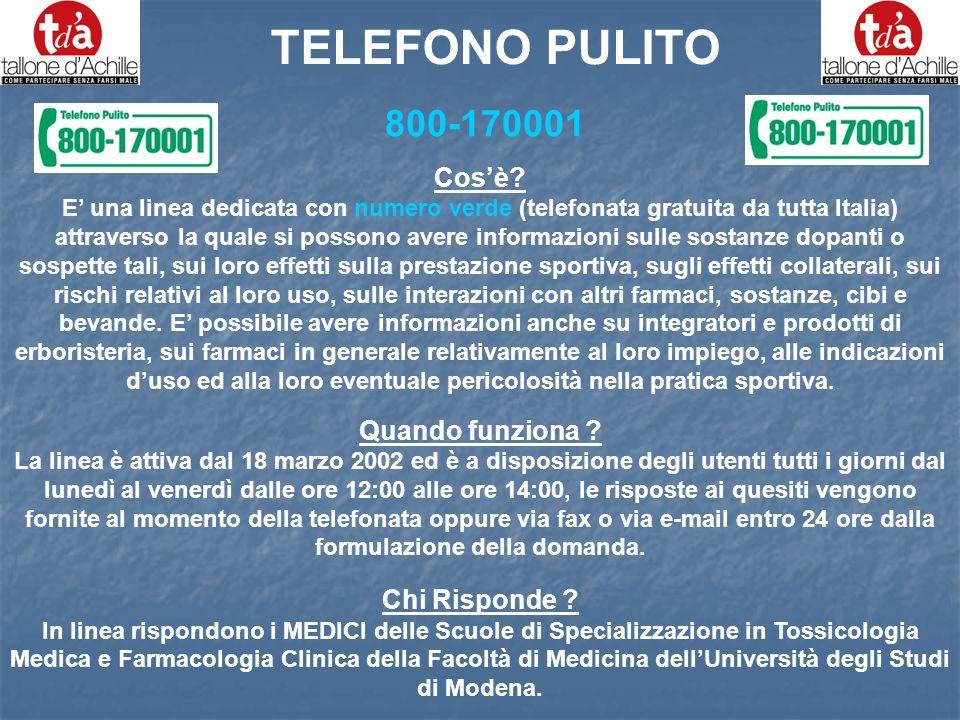 TELEFONO PULITO 800-170001 Cos'è Quando funziona Chi Risponde