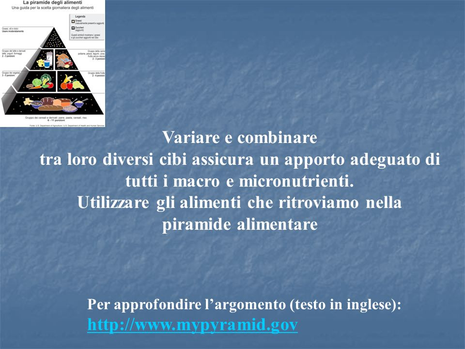 Utilizzare gli alimenti che ritroviamo nella piramide alimentare