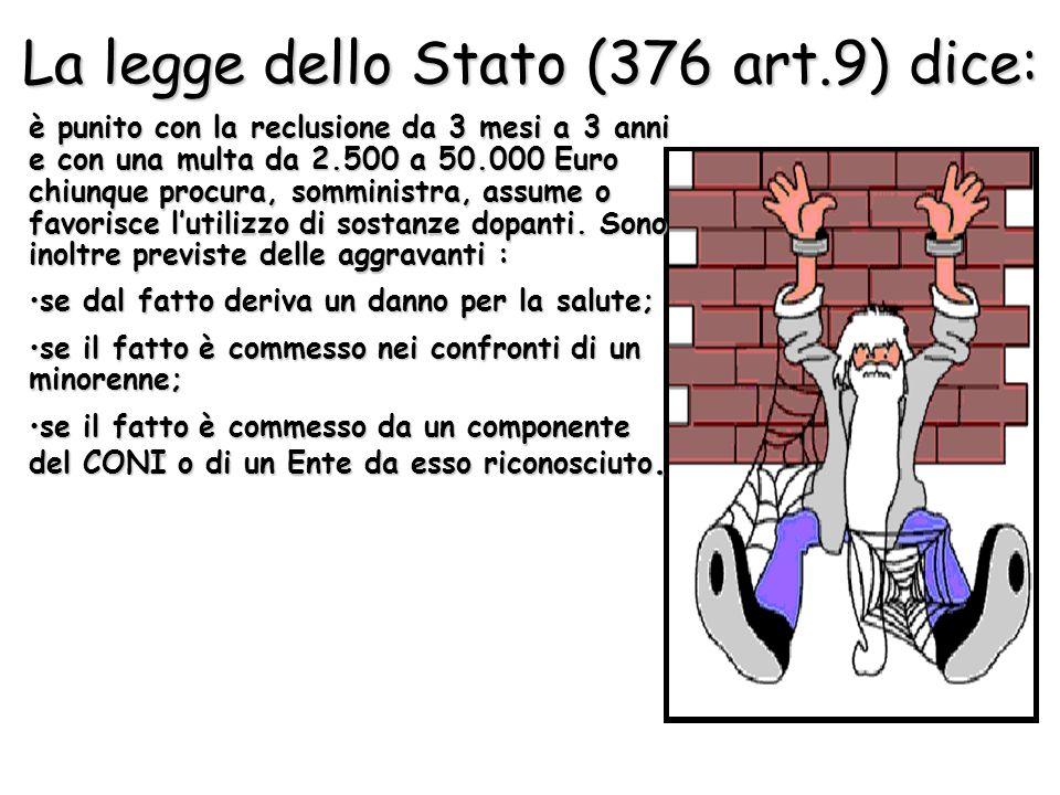 La legge dello Stato (376 art.9) dice: