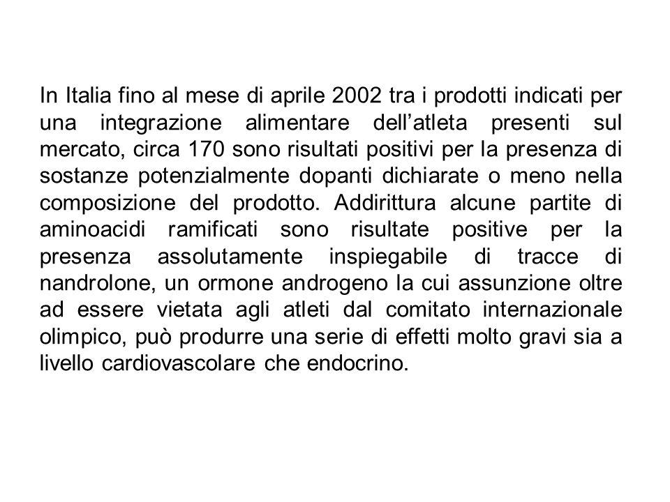 In Italia fino al mese di aprile 2002 tra i prodotti indicati per una integrazione alimentare dell'atleta presenti sul mercato, circa 170 sono risultati positivi per la presenza di sostanze potenzialmente dopanti dichiarate o meno nella composizione del prodotto.