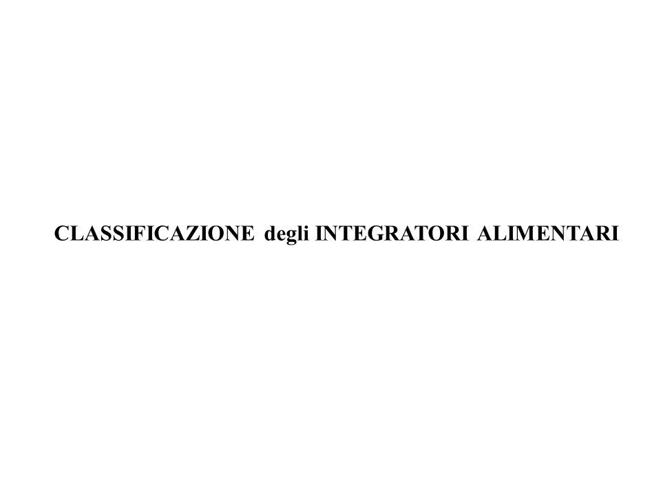 CLASSIFICAZIONE degli INTEGRATORI ALIMENTARI