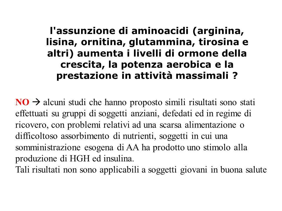 l assunzione di aminoacidi (arginina, lisina, ornitina, glutammina, tirosina e altri) aumenta i livelli di ormone della crescita, la potenza aerobica e la prestazione in attività massimali
